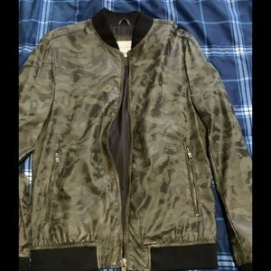 Zara men's faux leather camo jacket